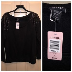 Torrid Sweater with sequined shoulders